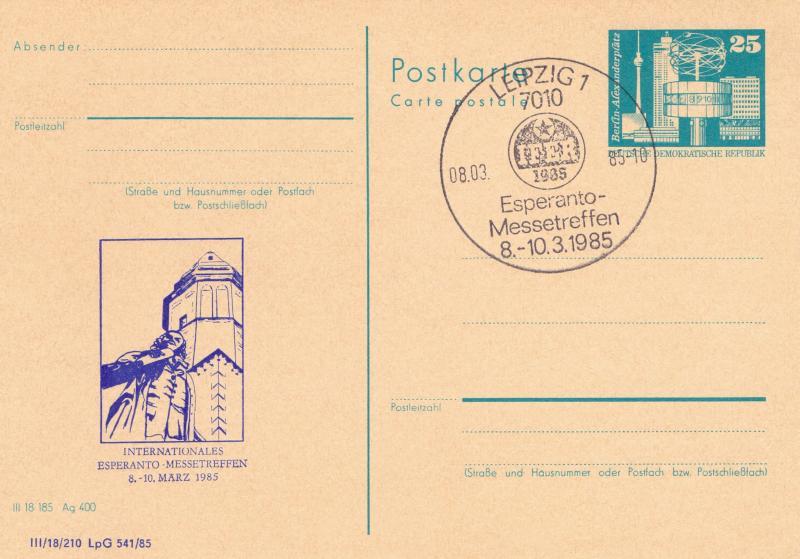 Bildpostkarte: Internationales Esperanto-Messetreffen, 8.-10. März 1985