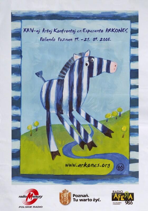 Plakat: XXIV-aj Artaj Konfrontoj en Esperanto (ARKONES), Poznan 2008