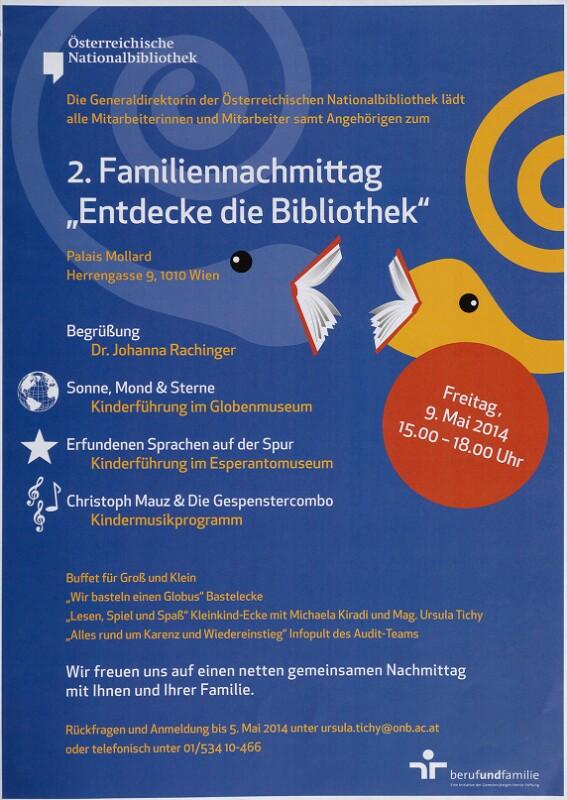 """Plakat: 2. Familiennachmittag: """"Entdecke die Bibliothek"""""""