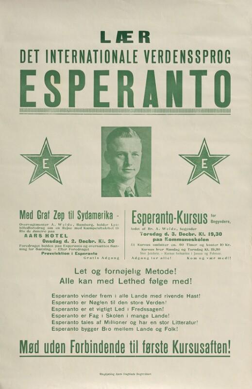 Plakat: Lær det internationale verdenssprog Esperanto
