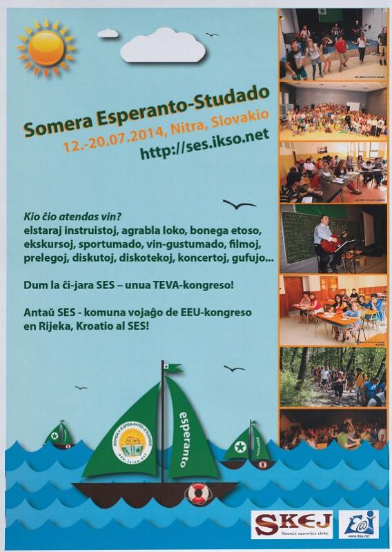 Plakat: Somera Esperanto-Studado (SES), Nitra 2014