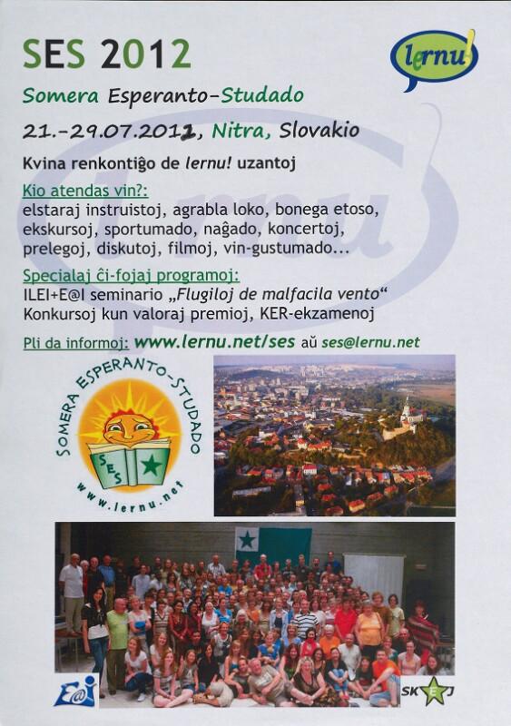 Plakat: Somera Esperanto-Studado (SES), Nitra 2012