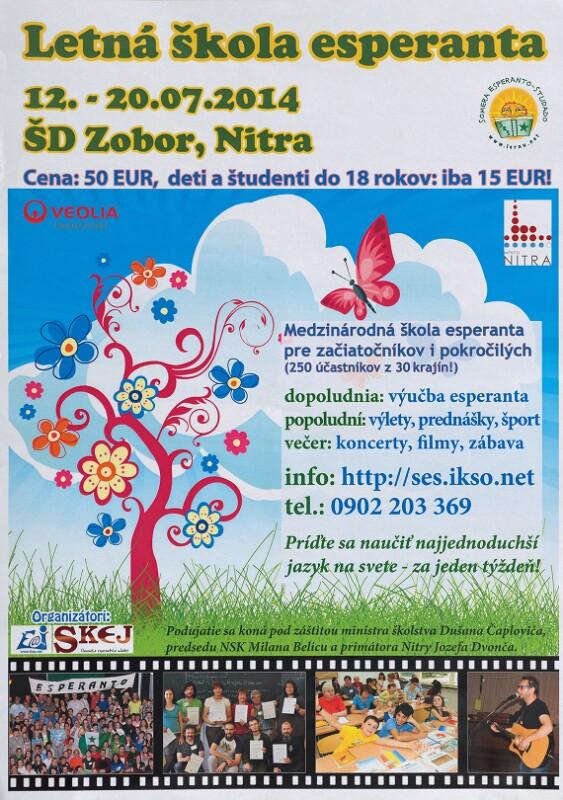 Plakat: Letná škola Esperanta, 12.-20.07.2014, Nitra