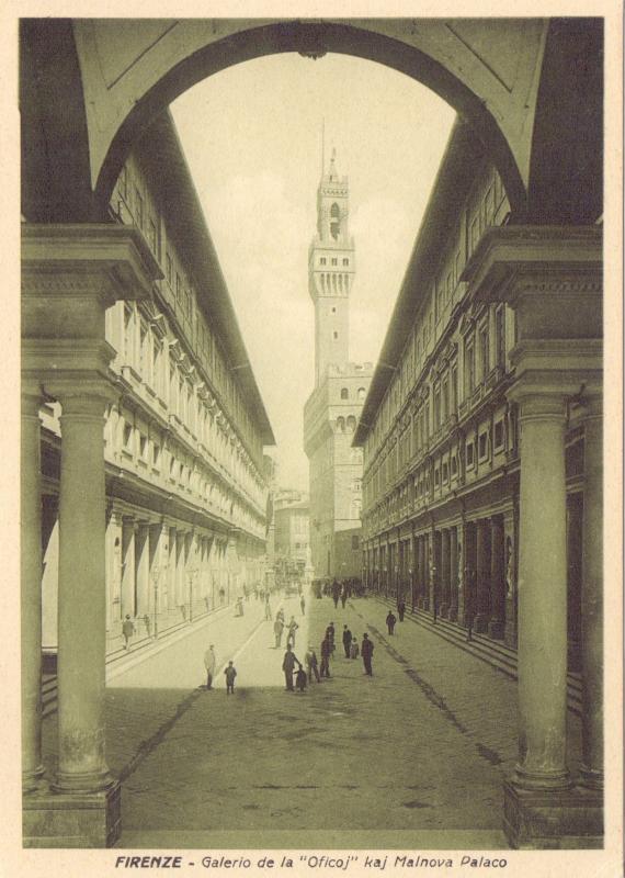 """Ansichtskarte: Galerio de la """"Oficoj"""" kaj Malnova Palaco"""