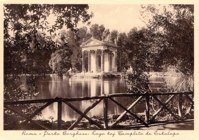 Ansichtskarte: Roma - Parko Borghese: lago kaj templeto de Eskulapo