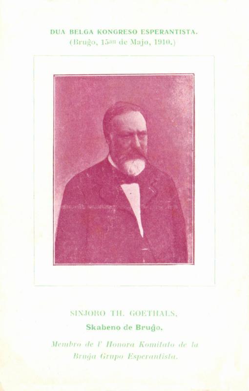 Ansichtskarte: Sinjoro Th. Goethals, skabeno de Bruĝo