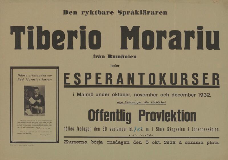 Plakat: Den ryktbare Språkläraren Tiberio Morariu från Rumänien leder Esperantokurser