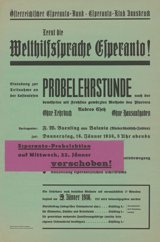 Plakat: Österreichischer Esperanto-Bund, Esperanto-Klub Innsbruck: Lernt die Welthilfssprache Esperanto!