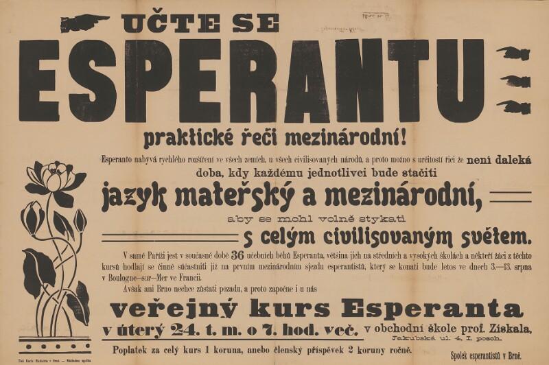 Plakat: Učte se Esperantu, praktičké řeči mezinárodní!