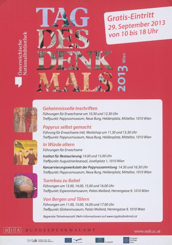 Plakat: Tag des Denkmals, Wien 2013