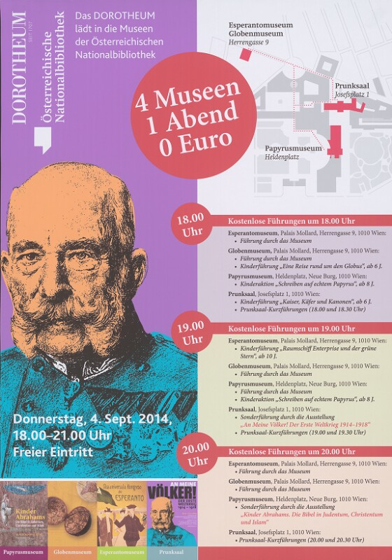 Plakat: Das Dorotheum lädt in die Museen der Österreichischen Nationalbibliothek, Wien 2014
