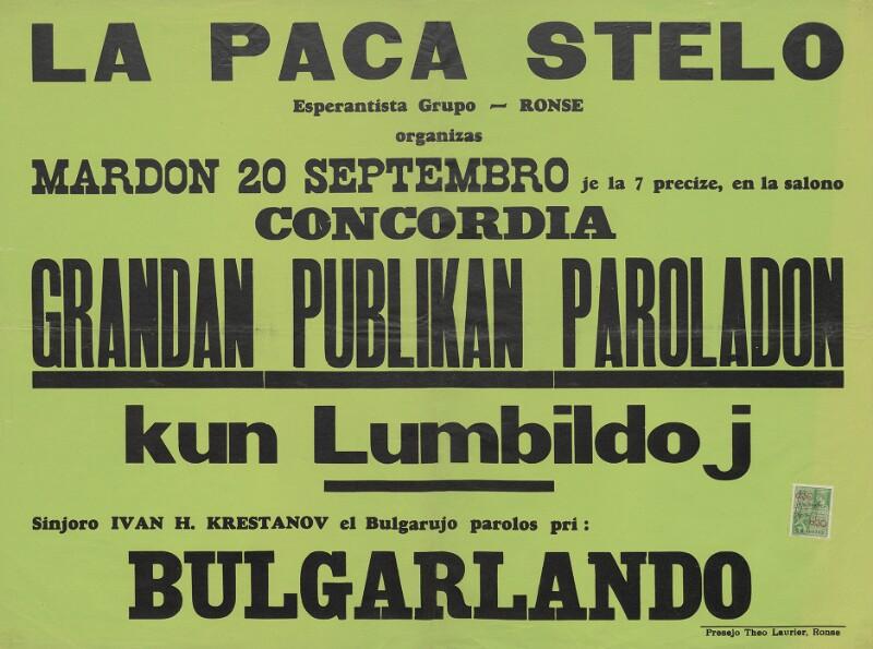 Plakat: La Paca Stelo, Esperantista grupo, Ronse, organizas grandan publikan paroladon kun lumbildoj