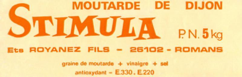 Senf-Etikett: Stimula - mutarde de Dijon