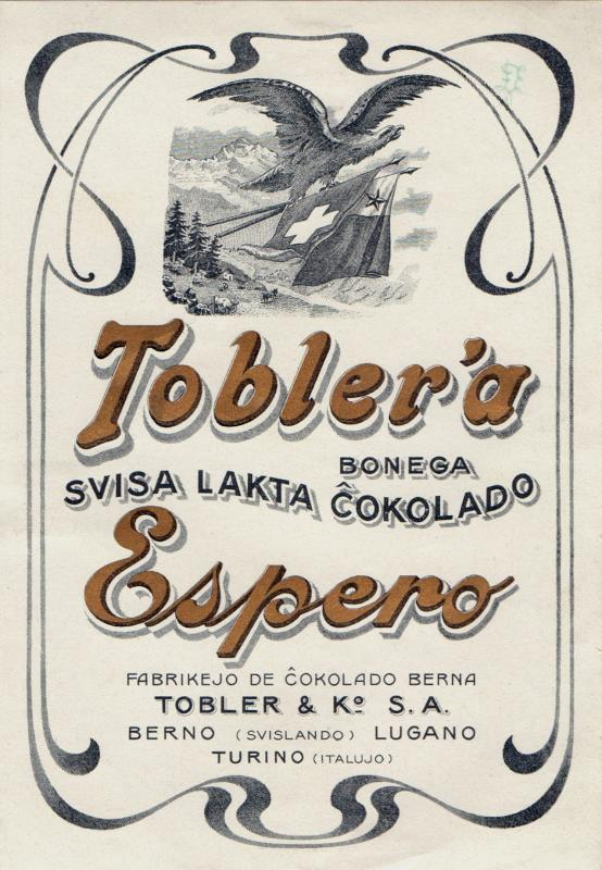 Schokoladenetikett: Tobler'a bonega svisa lakta ĉokolado Espero