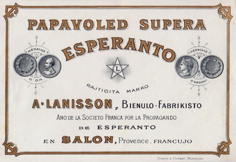 Flaschenetikett: Papavoled supera Esperanto