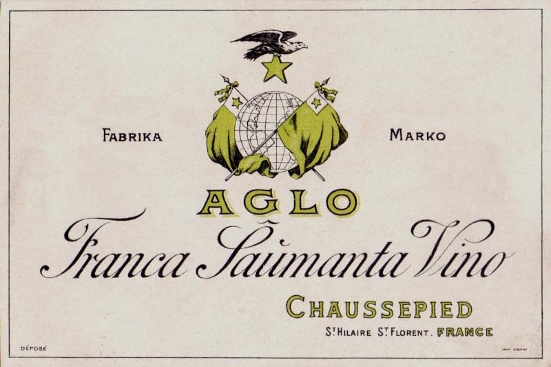 Flaschenetikett: Aglo, franca ŝaŭmanta vino