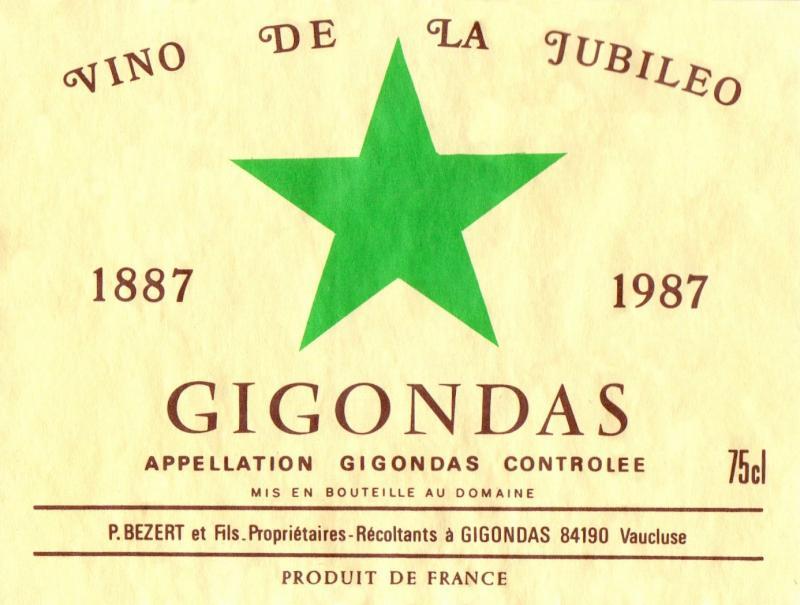 Flaschenetikett: Gigondas - vino de la jubileo