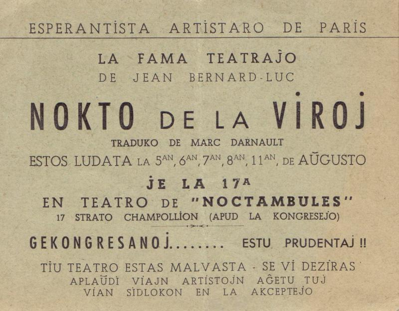 "Ankündigung der Aufführung des Theaterstücks ""Nokto de la Viroj"" anlässlich des 35. Esperanto-Weltkongresses, Paris 1950"