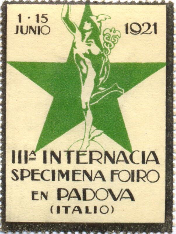 Verschlussmarke: IIIa Internacia Specimena Foiro en Padova (Italio), 1-15 junio 1921