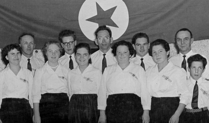 """Esperanto-Ensemble """"La Verdaj Fringeloj"""", Knittelfeld um 1955"""