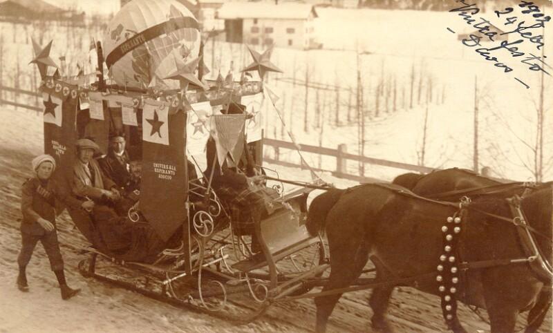 Pferdeschlitten mit Esperanto-Schmuck, Davos 1912