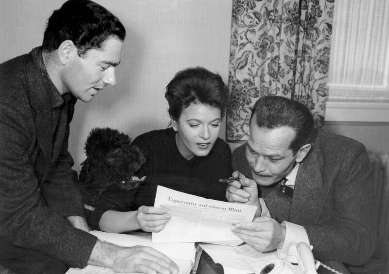 Prominente Schauspieler lernen Esperanto, Hollywood um 1958