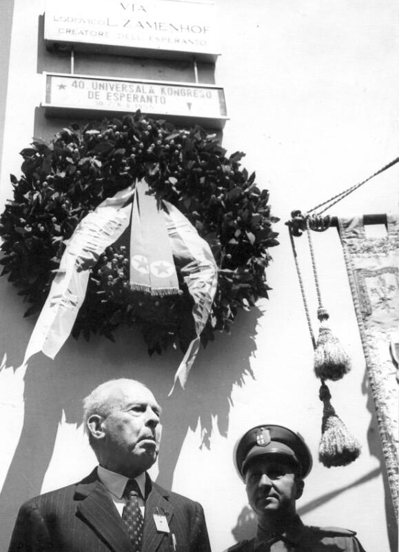 "Einweihung der ""Via Lodovico L. Zamenhof"", Bologna 1955"