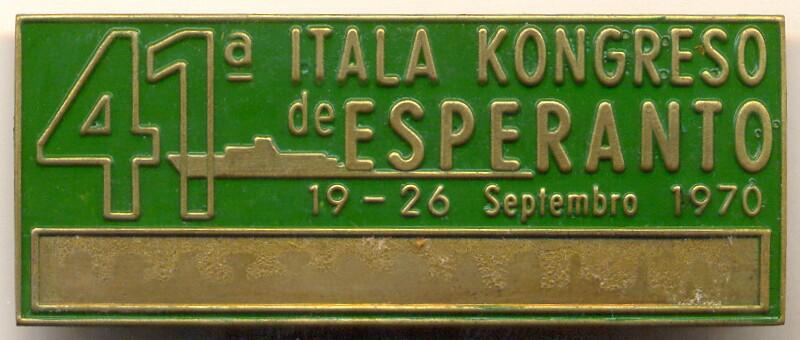 Abzeichen: 41a Itala Kongreso de Esperanto, 19 - 26 Septembro 1970