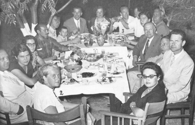 Bankett der Griechischen Esperanto-Vereinigung zu Ehren des Weltreisenden und Forschers Tibor Sekelj, Athen 1955
