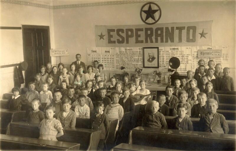 Esperanto-Unterricht in einer Klasse der Volksschule Meierhöfen bei Karlsbad, 1926