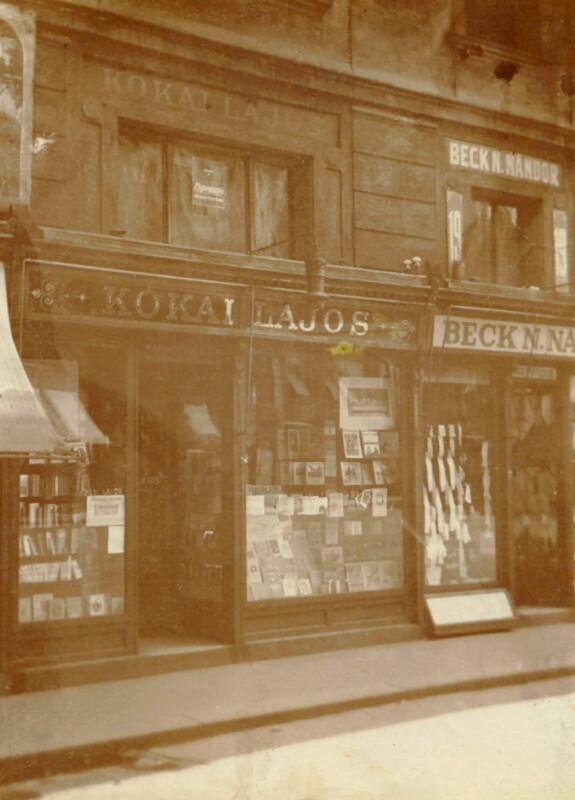 Buchhandlung von Lajos Kókai, Budapest um 1920