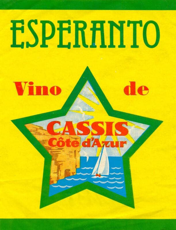 Flaschenetikett: Esperanto - vino de Cassis