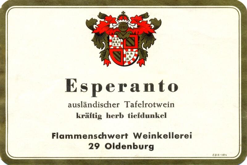 Flaschenetikett: Esperanto ausländischer Tafelrotwein, Oldenburg