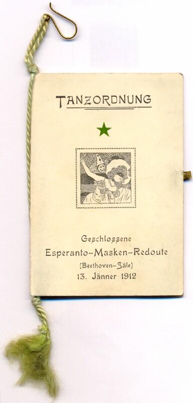 Tanzordnung: Geschlossene Esperanto-Masken-Redoute, Wien 13. Jänner 1912