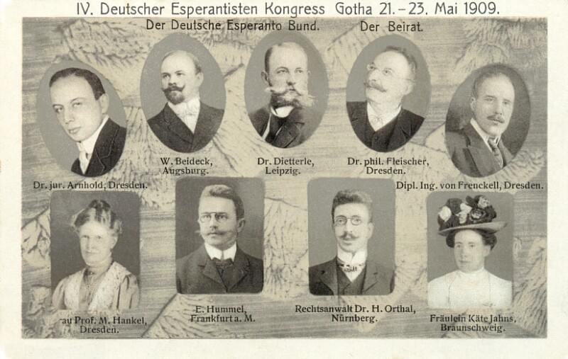 Ansichtskarte: IV. Deutscher Esperantisten-Kongress, Gotha 21.-23. Mai 1909. Der Deutsche Esperanto-Bund, der Beirat