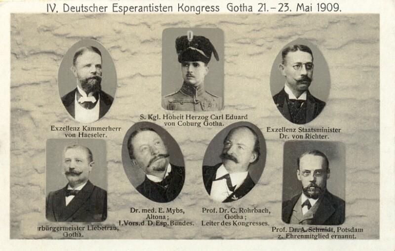 Ansichtskarte: IV. Deutscher Esperantisten-Kongress, Gotha 21.-23. Mai 1909