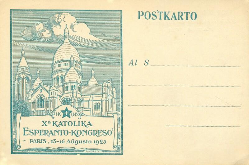 Ansichtskarte: Xa Katolika Esperanto-Kongreso, Paris, 13-16 aŭgusto 1925