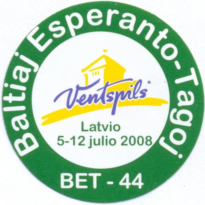 Aufkleber: Baltiaj Esperanto-Tagoj, Ventspils 2008