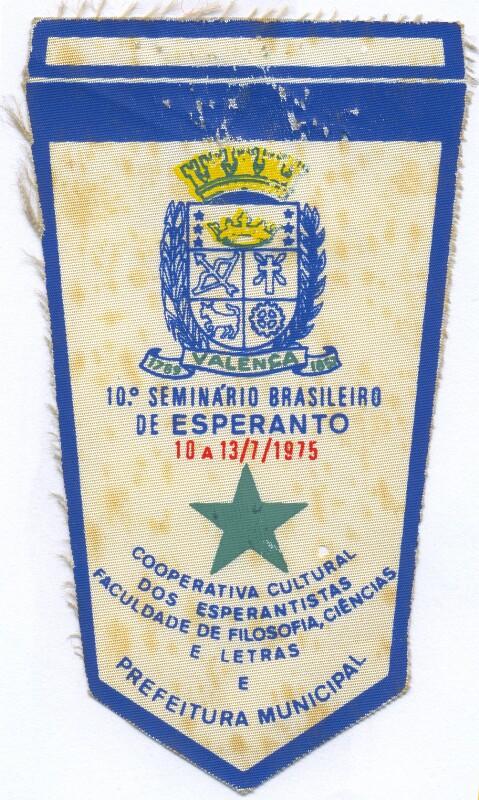 Abzeichen: 10. Seminario brasileiro de Esperanto, Valenca 1975