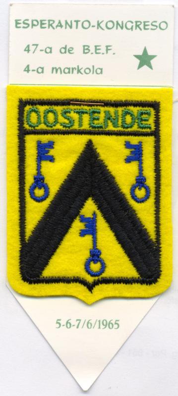 Abzeichen: Esperanto-Kongreso, 47-a de B.E.F., 4-a markola, Oostende 1965