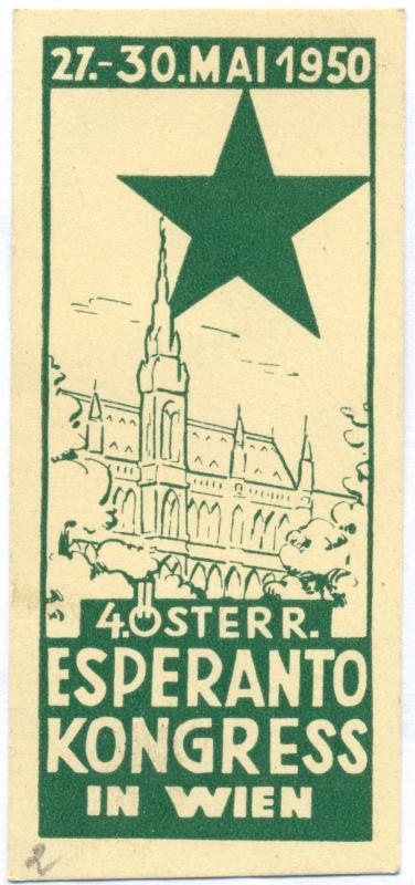 Abzeichen: 4. Österr. Esperanto Kongress in Wien, 1950