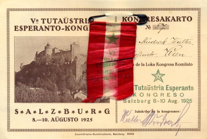 Kongreskarto: Va Tutaŭstria Esperanto-Kongreso, Salzburg 8.-10. aŭgusto 1925