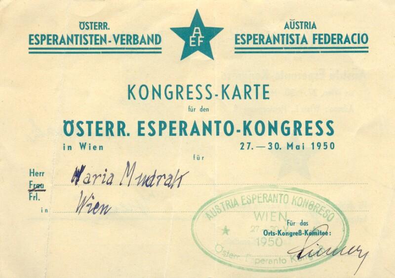 Kongresskarte für den Österr. Esperanto-Kongress in Wien 27. - 30. Mai 1950