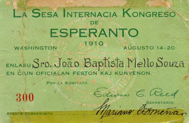 Kongresskarte: La Sesa Internacia Kongreso de Esperanto, Washington 1910