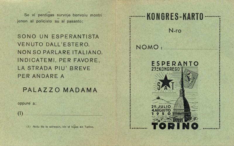 Kongreskarto: 23a Kongreso de SAT, Torino 1950