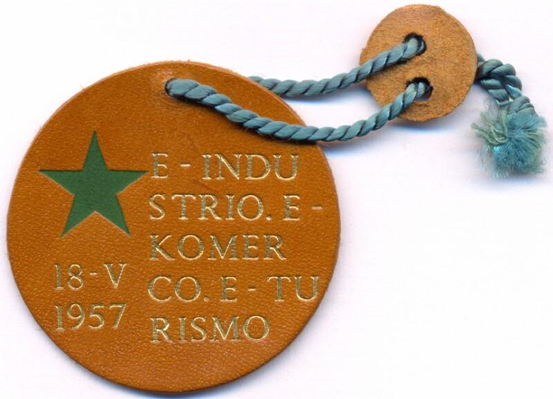 Abzeichen: E-industrio, E-komerco, E-turismo, Bologna 1957