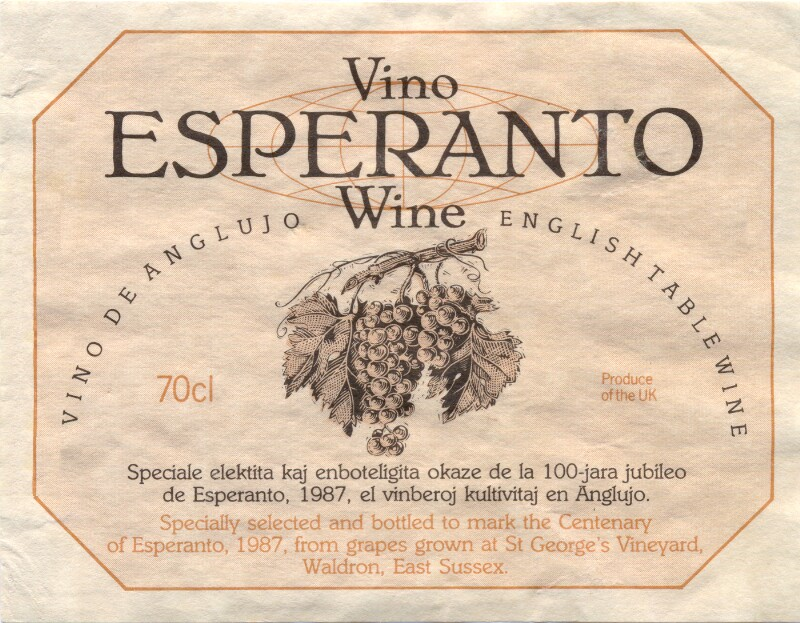 Flaschenetikett: Vino Esperanto