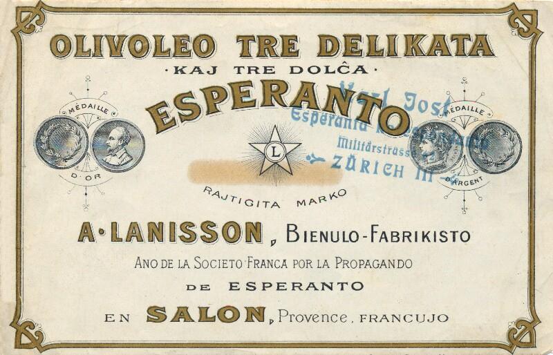 Flaschenetikett: Olivoleo Esperanto
