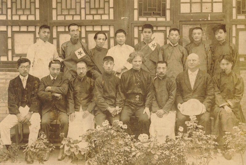 Chinesische Esperanto-Schüler mit ihren russischen Lehrern, Peking 1956