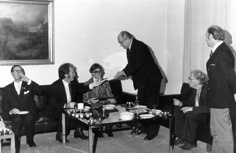 Empfang einer Esperanto-Delegation beim Bürgermeister, Helsinki 1975